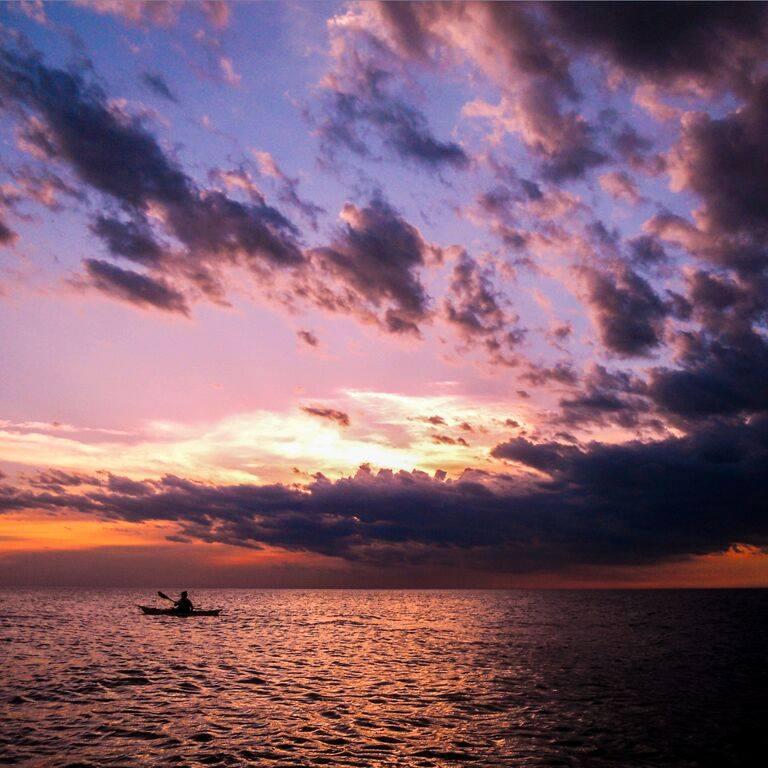 courses at sunset at great lakes sea kayak symposium